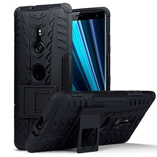 TERRAPIN, Kompatibel mit Sony Xperia XZ3 Hülle, TPU + PC Schutzhülle mit Standfunktion Tasche - Schwarz
