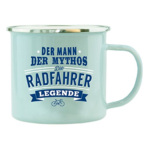 History & Heraldry Echter Kerl Emaille Becher, Radfahrer, Mehrfarbig