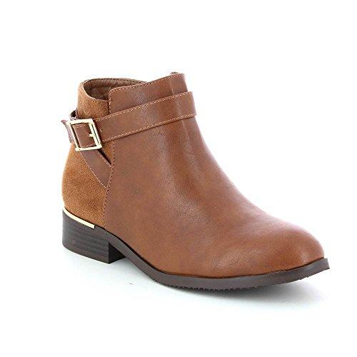 GO MODA - Stivali chelsea bimateriale da laccio decorativi Marrone (marrone)