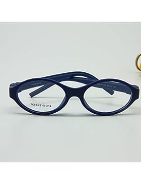 enzodate - montura de gafas para niños,, tamaño 43/14,silicona TR90, doble capa, sin tornillos, seguras, Flexible...