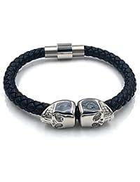135baa26e717 Calavera Pulsera de plata negro piel cierre magnético acero inoxidable  calavera piel genuine Leather 19 cm