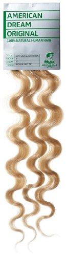 American Dream - A4/QFC12/18/16 - 100 % Cheveux Naturels - Douce Ondultation - Pièce Unique Extensions à Clipper - Couleur 16 - Blond Sahara - 46 cm