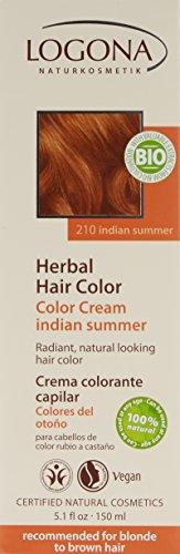 LOGONA Naturkosmetik Coloration Pflanzenhaarfarbe, Color Creme - 210 Indian Summer - Rot, Natürliche & pflegende Haarfärbung (150g) - 2