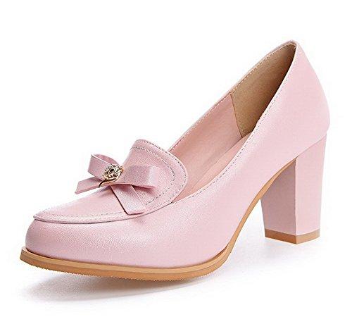 VogueZone009 Femme Couleur Unie Pu Cuir à Talon Correct Rond Tire Chaussures Légeres Rose