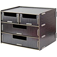 Met Love Caja de Almacenamiento Creative 3 Capas A4 A5 Cajón Woody Desktop File (Color : Black)