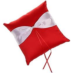 Almohadilla para Anillos de Satinado Rojo y Blanco