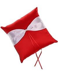 MagiDeal Almohadilla de Anillo de Satinado Cojines para Anillos Accesorio de Ceremonia de Boda con Cinta Rojo y Blanco
