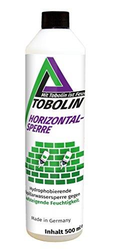 Tobolin Horizontalsperre 24 x 500 mL + 24x Injektionsaufsatz ~ 4 Flaschen/Meter – Verkieselungsmittel zur Mauerwerkstrockenlegung & Horizontalsperre - hocheffektiv gegen aufsteigende Feuchtigkeit