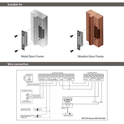 tipo NO Electric Strike Door Lock,Secure o Fail-Safe DC 12V Guardia Ingresso Serratura elettrica compatibile con TMEZON Sistema video citofino Campanello TMEZON Serratura elettrica per porte