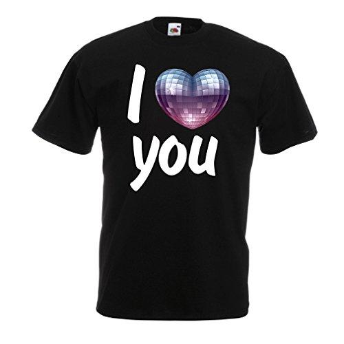 """liebe dich- Discokugel Herz"""" Kleidung der 80-er Jahre, VALENTINSTAG Geschenke (XXX-Large Schwarz Mehrfarben) (Ich Liebe 80er-jahre-shirt)"""