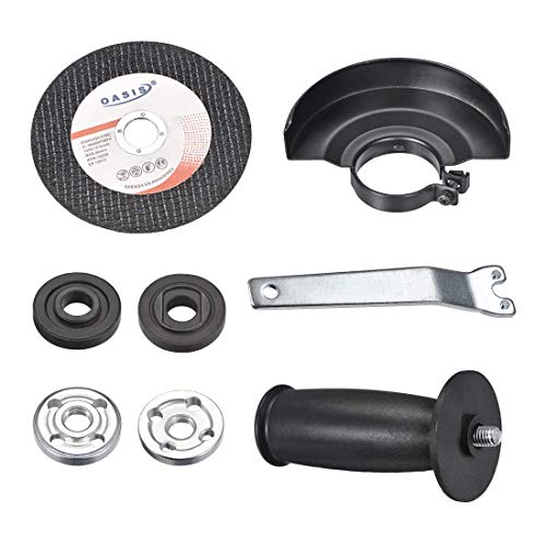 ZCHXD Angle Grinder Parts, 4mm Thick Angle Wrench +Grinder Flange +Angle Grinder Handle+Grinder Guard +Grinder Sanding Disc, 1Set -
