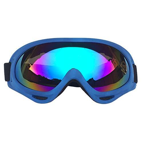 Leezo Gafas de Ciclismo Mujer, protección UV 400, Resistente al Viento, a Prueba de Polvo, para Motocross, Patinaje, Motocicleta, Bicicleta, para niños, niñas y jóvenes, Blue Frame - Colored Lenses