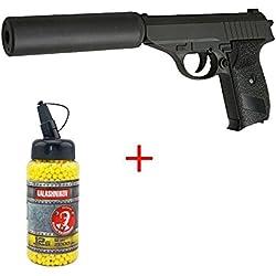 Galaxy Airsoft G3A Type Walther P230 avec Silencieux à Ressort Couleur Noir Bouteille de Billes 0.12 Offert Forces Spéciales/Swat/Cosplay/Puissance 0.5 Joule