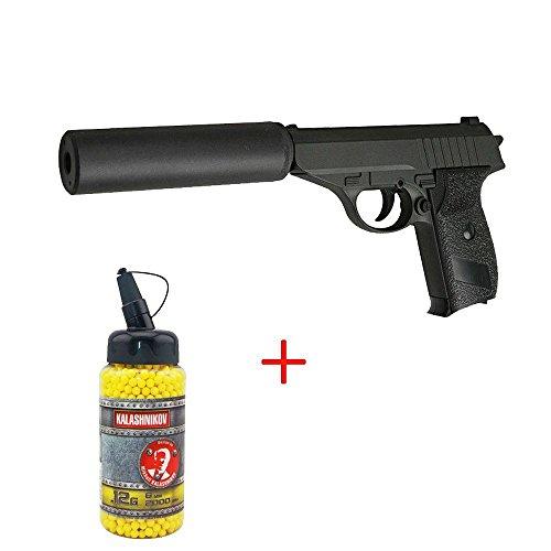 Airsoft Galaxy - pistola para airsoft G3A tipo Walther P230 con silenciador, con muelle, color negro, botella de balines de 0,12 g de regalo, fuerzas especiales, SWAT o cosplay, potencia de 0,5 julios