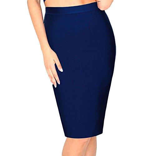 HLBandage High Wait Knee Length Rayon Bandage Skirt blu navy