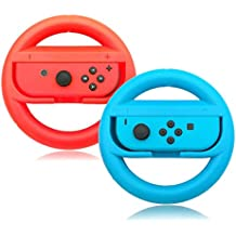 Switch Steering Wheels, Anti-Slip, Anti-Sweat Joy Con Wheel for Nintendo Switch - Red and Blue