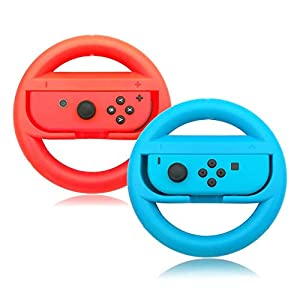 Switch Lenkräder, Anti-Rutsch, Anti-Sweat Joy-Con Wheel für Nintendo Switch-Rot und Blau