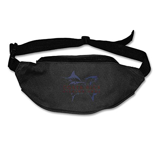 Unisex Pockets Costa Rica Fishing Pros Fanny Pack Waist/Bum Bag Adjustable Belt Bags Running Cycling Fishing Sport Waist Bags Black
