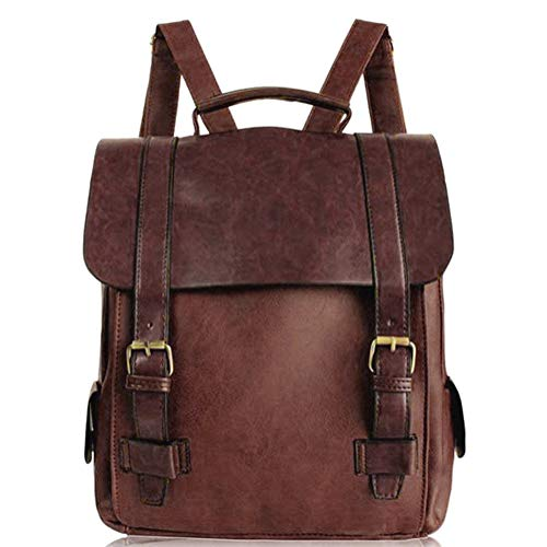 Minetom Damen Vintage British Style Leder Rucksack Schultasche Daypacks Für Outdoor Sports Marron One size