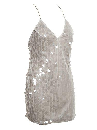 Choies Damen Kleid Pailetten V-Ausschnitt Rückenfrei Ärmellos Festlich Cocktailkleid Bodycon Minikleid Silbrig