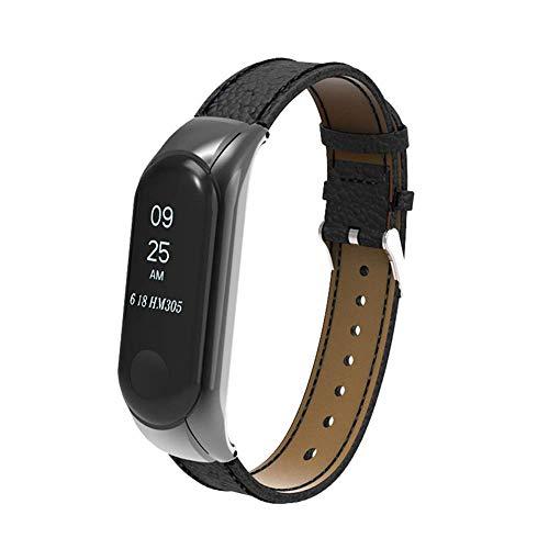 Genuiseric Lederband für Xiaomi Mi Band 3 einstellbar verstellbares Metall-Box-Armband für Ersatz-Armband (Black)