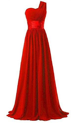 Brinny Damen Lange One Shoulder Chiffon Abendkleider Festkleider Maxi Rot