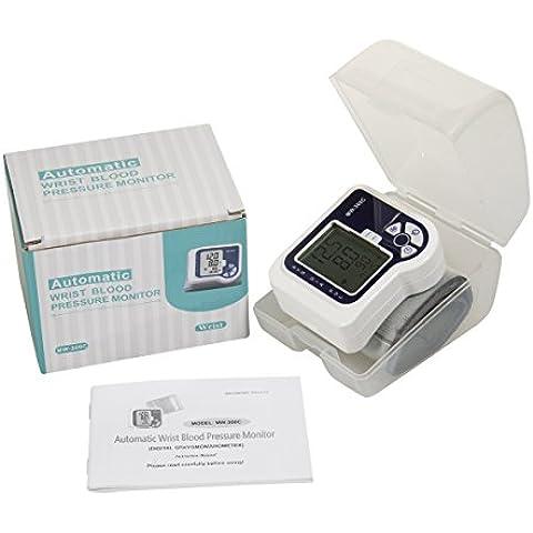 Automático de muñeca monitor de presión arterial por HealthyWealthy, esfigmomanómetro digital con detector de latido irregular BP para el brazo, mediciones de alta precisión para la presión arterial alta, Pequeña y aparato portátil para medir la presión, operación