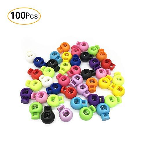 100PCS Nylon Toggle Tasten Spring Stopper Regler Single Loch Schnur Schlösser Sortiert Farben -