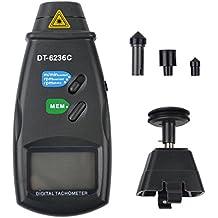 Ckeyin Tacómetro de mano digital (de contacto y sin contacto, pantalla LCD, Láser fotoeléctrico) láser Foto sin contacto RPM Tach herramienta Medidor, DT-6236C