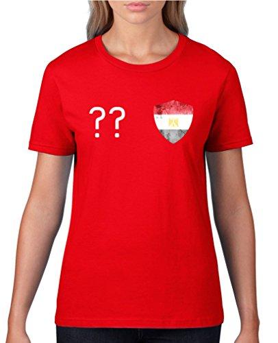 Comedy Shirts - Ägypten Trikot - Wappen: Klein - Wunsch - Damen T-Shirt - Rot / Weiss Gr. S (Trikot Weiße Kleine)