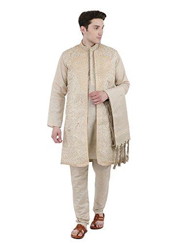 SKAVIJ Herren Kurta Pyjama Jacke und Stola Besticktes Kleid (Beige, Brustumfang - 102 cm) -