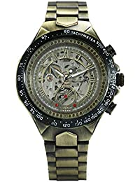 Vintage Hollow Fashion Men Mechanical Watches Monochrome Metal Strap Top Brand Luxury Best Selling Vintage Retro Design Wristwatches +Box
