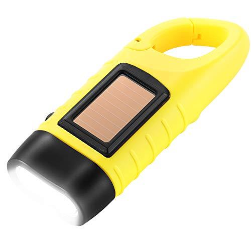 Simpeak LED Taschenlampe Handkurbel Solar Dynamo Karabiner Energie Wiederaufladbare Taschenlampe für Camping Klettern Wandern, Gelb