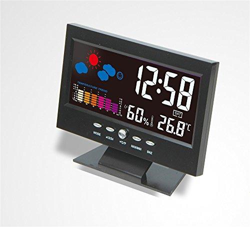 AIZIJI Multi - Función - Pantalla Grande Reloj Calendario Reloj LED con Retroiluminación Previsión meteorológica Digital Desktop Clock