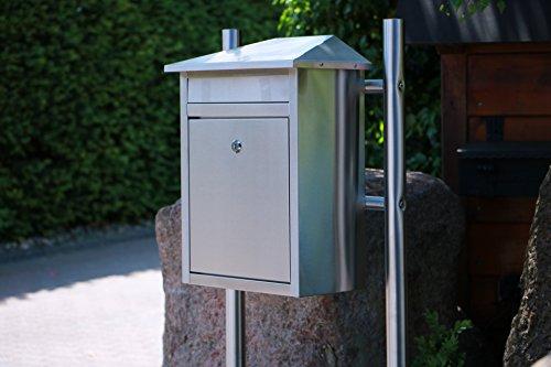 Edelstahl Briefkasten mit extrabreitem Briefschlitz für Zeitungen & Kataloge, Maße 33,3x19x44cm - 9