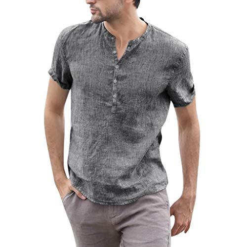 Camicia a Maniche Corte da Uomo Vendita Elegante V Collo Casual a Strisce Sciolte(Grigio Scuro 2,XX-Large)