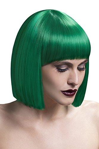 Fever Damen Kurzer Blunt Haarschnitt Perücke mit Pony, 30 cm, Lola Perücke, Grün, One Size, 42494