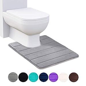Homaxy Memory Foam rutschfeste Weiches Vorleger Toilette mit Ausschnitt 50 x 60 cm, Saugfähig Badematte Stand WC, Waschbar Badteppiche für WC, Grau