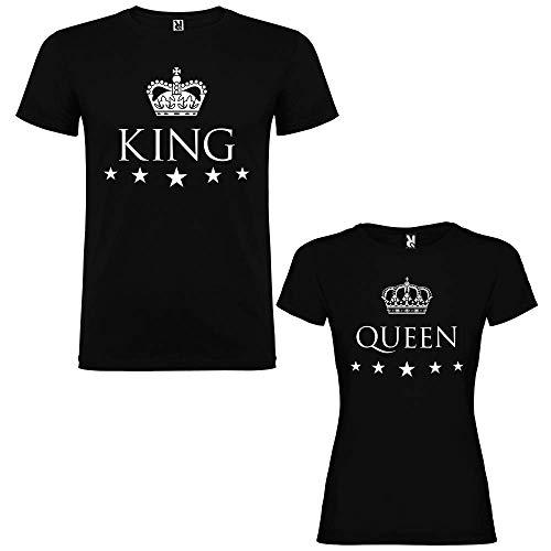 Pack de 2 Camisetas Negras para Parejas, King y Queen, Blanco (Mujer Tamaño S + Hombre Tamaño S)