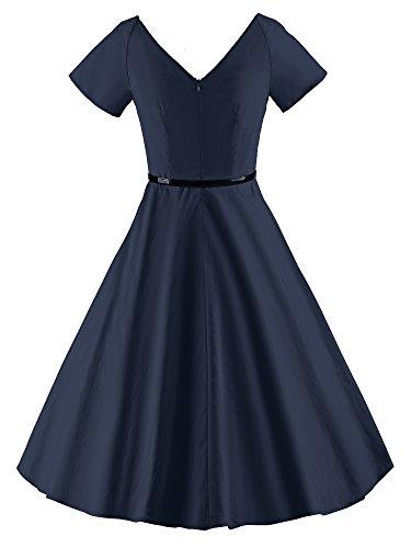ILover Frauen 1950er V-Ausschnitt Vintage Rockabilly Swing-Abend-Partei-Kleid V026-Navy-1
