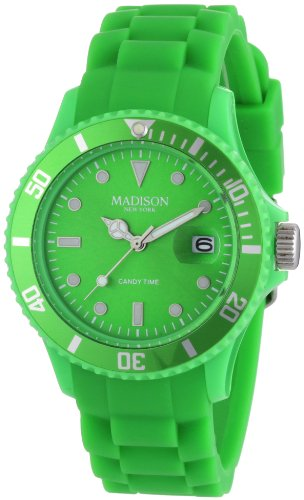 Madison New York Unisex-Armbanduhr Candy Time Analog Silikon grün U4167-10/2 - Herren Dk Grün