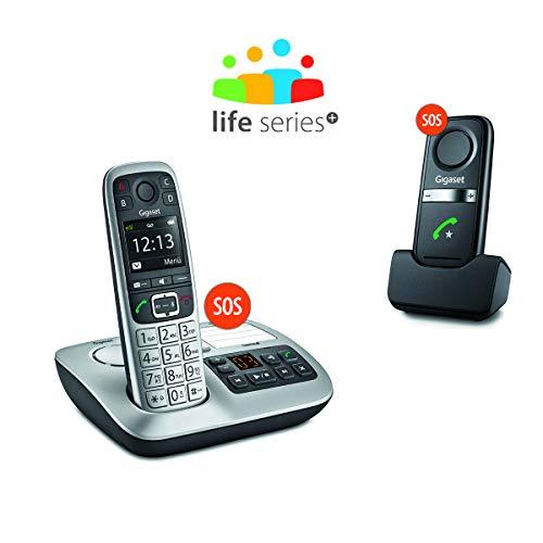 Gigaset E560A PLUS Schnurlostelefon + Freisprech-Clip mit SOS-Funktion – Hausnotruf – Anrufbeantworter / Grosse Tasten Telefon – platin - 4