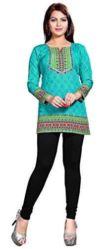 Indiani Kurti Stampato Womens Camicetta India Abbigliamento (Verde, L)