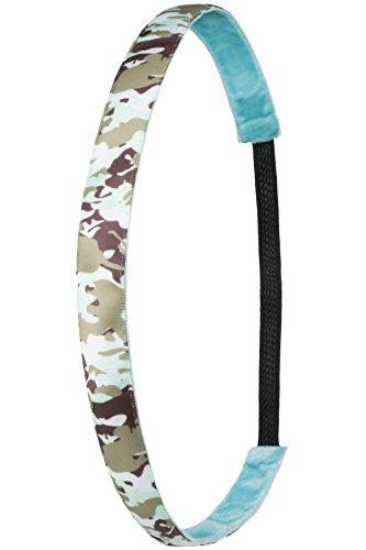 Ivybands ® | Das Anti-Rutsch Haarband | Green Camouflage | Grün Beige Braun | (1,6 cm Breite) | One Size | IVY807 - Camouflage Stirnband