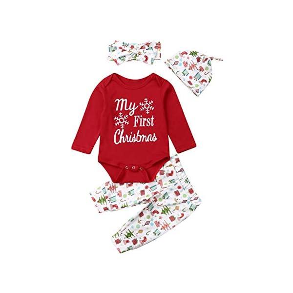 Miyanuby Mameluco de Bebé Niña My First Christmas Algodón Monos Bodies Pantalones Conjunto de Ropa con Diadema de… 1
