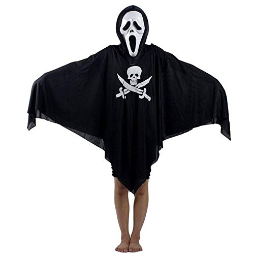 TYUBN Kreative Halloween Piraten Geist Kostüm Sichel Geist Kleidung & Schreien Geistermaske Cosplay Requisiten Set für Erwachsene (Schwarz)