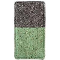 Handytasche aus Wollfilz und grünem Kork passend für Samsung Galaxy S6, S6 Edge, S7, iPhone X, Huawei P8 lite