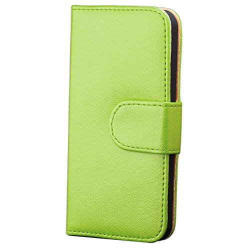 iCues Apple iPhone SE / 5S / 5 |  Wallet Tasche Grün | [Display Schutzfolie Inklusive] Leder - Imitat Book Klapphülle Schutz Etui Handytasche zum aufklappen Flip Case Schutzhülle Booklet Hülle Wallet