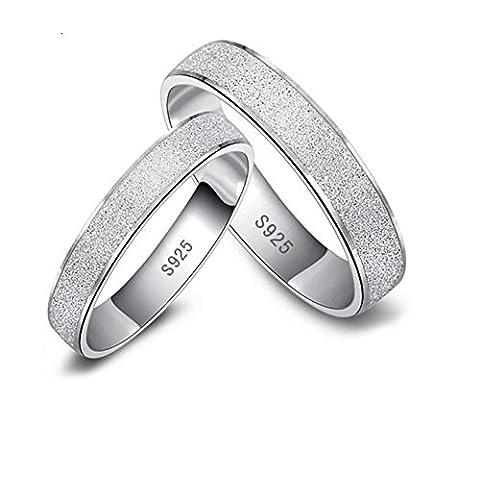 Argento Sterling Placcato platino fine lucido della coppia amante anello