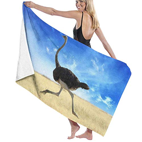 Laohujia Running Ostrich Sky Microfiber Beach Towels Quick Dry Super Absorbent Towel for Camping -